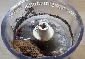 στάδιο 4 vegan κρέμας λεμονιού: προσθέτουμε τον παπαρουνόσπορο και τη ζάχαρη καρύδας